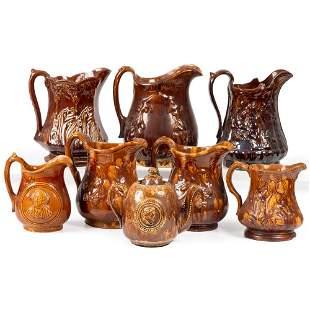 Seven Bennington-Style Pitchers and a Teapot