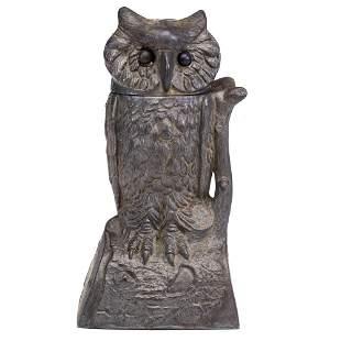 An Owl Turns Head Cast Iron Mechanical Bank