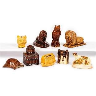 Nine Bennington Style & Yellowware Glazed Figural Banks