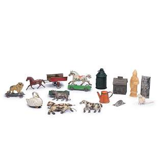 A Group of Painted and Lithograph Decorated Tin Toys