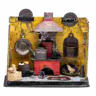 A Painted and Stenciled Tin Toy Kitchen