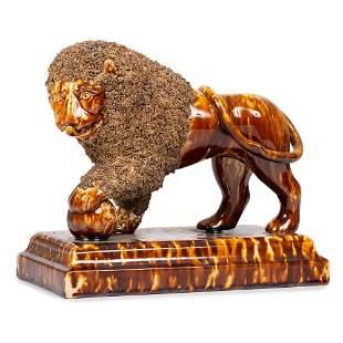 A Bennington Pottery Lion by Lyman Fenton & Co.