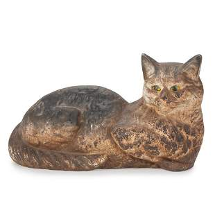 A Painted Cast Iron Reclining Cat Doorstop