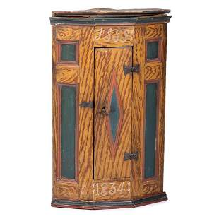A Scandinavian Carved and Paint Decorated Corner...