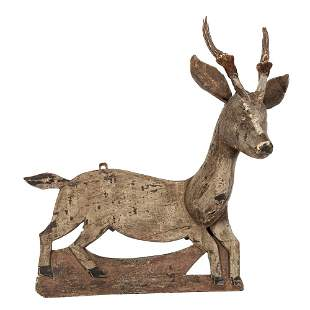 A Folk Art Carved Wooden Deer Head Wall Hanging