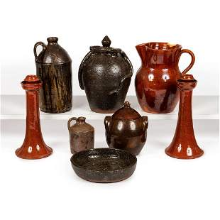 Eight Pieces of Southern Pottery, Including a Double