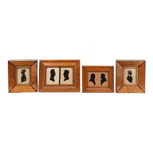 A Group of Four American Framed Silhouette Portraits