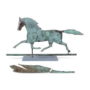 An American Copper Trotting Horse Weathervane, Circa