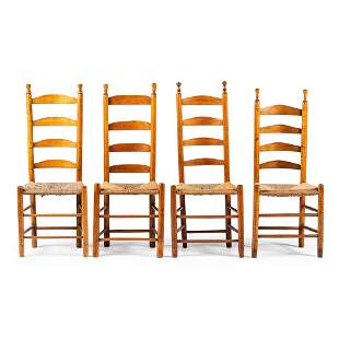 Four William and Mary Ladder Back Rush-Seat Side