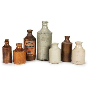 Seven British and American Stoneware Ink Bottles