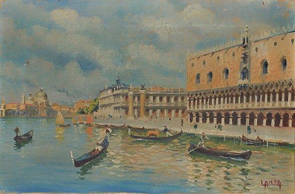 4: Venetian Canal Scene by Luigi Lanza (Italian, b. 186