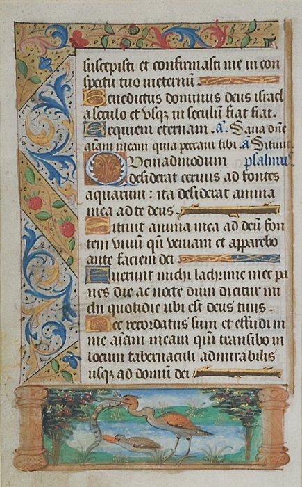 8: Book of Hours Illuminated Manuscript Leaf,