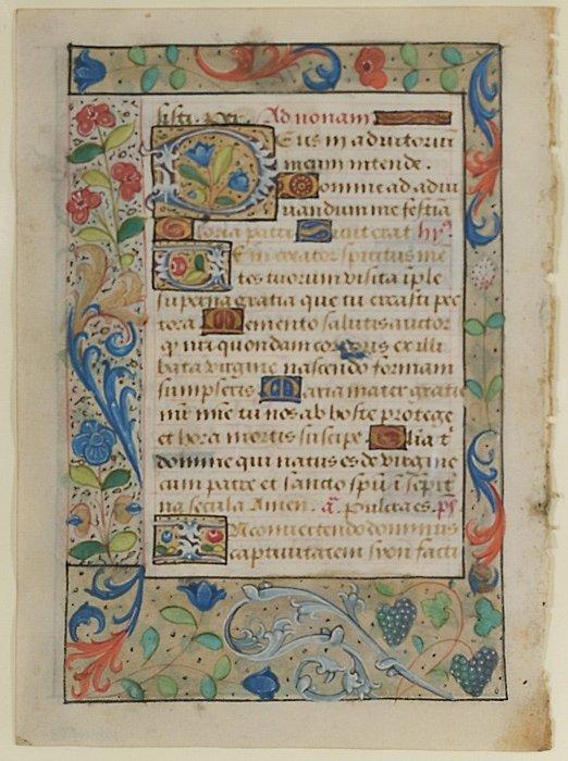9: Book of Hours Illuminated Manuscript Leaves,