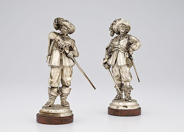 10: Silverplated Cavalier Figures after Raphael,