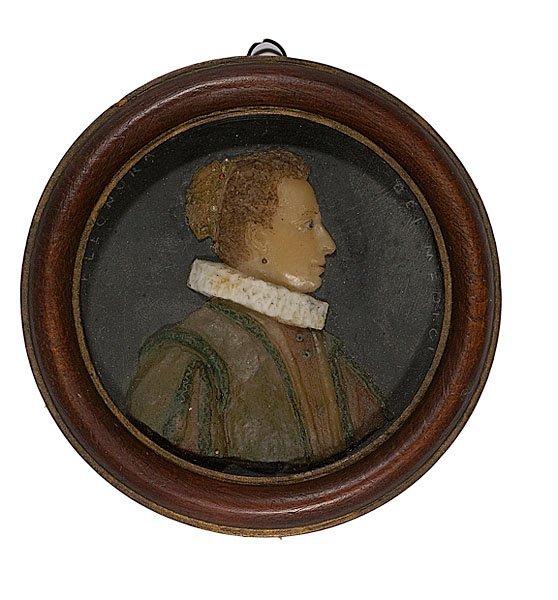 12: Wax Portrait Miniature of Eleonora de Medici,
