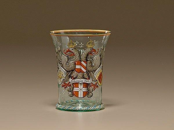 17: Armorial Glass Beaker,