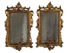 Pair of Italian Mirrored Giltwood Sconces