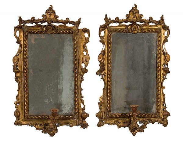 24: Pair of Italian Mirrored Giltwood Sconces