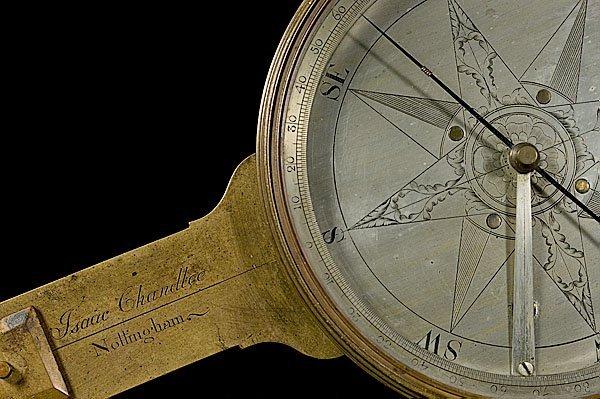240: 18th Century Isaac Chandlee Plain Compass,