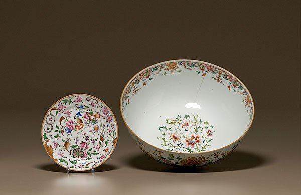 387: Famille Rose Chinese Export Punch Bowl,