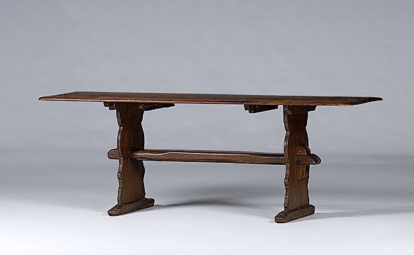 394: Trestle Table of Oak and Pine,