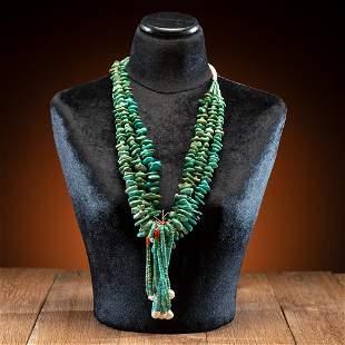 Pueblo Multi-Strand Turquoise Tab Necklace, with Joclas