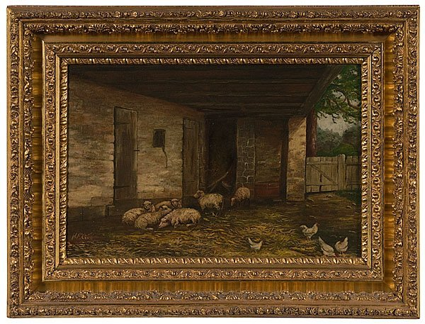 6: Barn Scene with Sheep & Chickens by H.F.G.