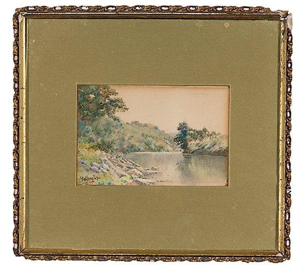 5: River Landscape by Paul Sawyier, Watercolor on Paper