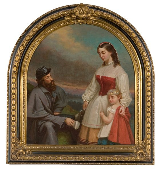 13: Confederate Painting of Soldier and Nurse with Daug