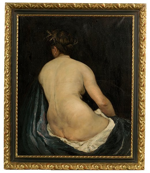 18: Nude Attributed to Frank Duveneck, Oil on Canvas