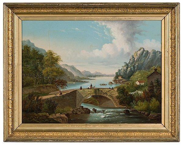 24: Hudson River School Landscape, Oil on Canvas