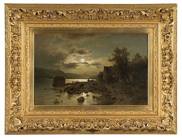 208: Night Landscape by Adolf Chwala, Oil on Canvas