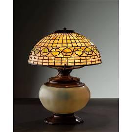 Tiffany Studios, White Acorn Table Lamp with Rare