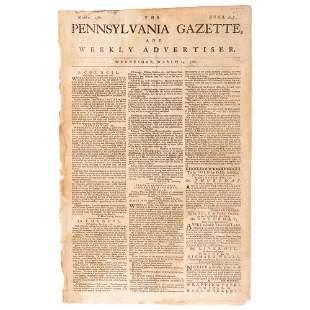 [REVOLUTIONARY WAR]. The Pennsylvania Gazette, and