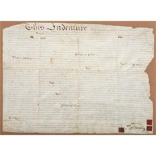 MORRIS, Robert (1734-1806). Land indenture signed