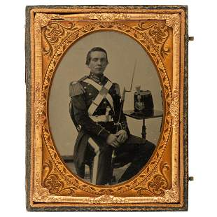 [CIVIL WAR]. Quarter plate ruby ambrotype of a 14th New