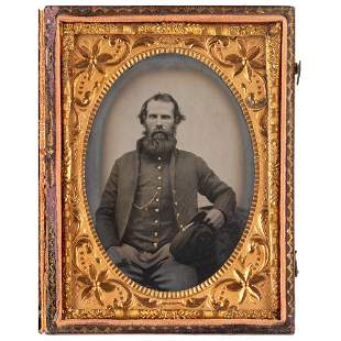 [CIVIL WAR]. Quarter plate tintype and CDV of Private