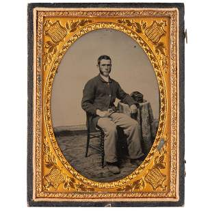 [CIVIL WAR]. Quarter plate ambrotype of Union infantry