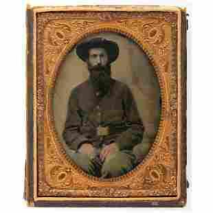 [CIVIL WAR]. Quarter plate tintype of bearded Union