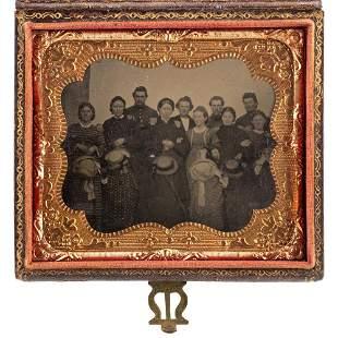 [CIVIL WAR]. Sixth plate tintype of Ohio Hawkins Family