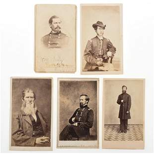 [CIVIL WAR]. Group of 5 CDVs of important Civil War