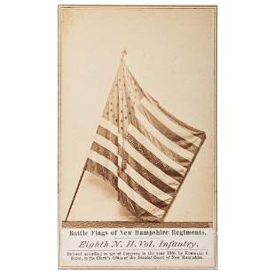 [CIVIL WAR]. CDV featuring the battle flag of the 8th