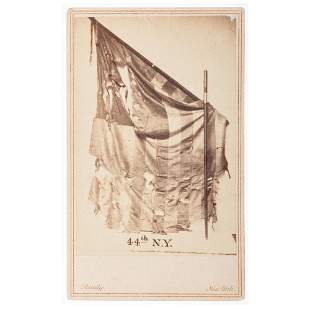 [CIVIL WAR]. CDV featuring the battle flag of the 44th