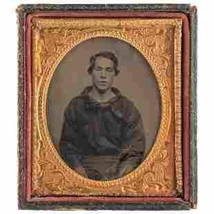 [CIVIL WAR]. Sixth plate tintype of a young sailor.