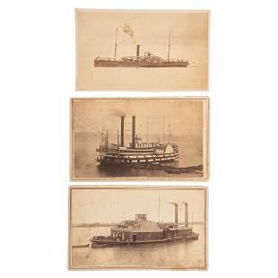 [CIVIL WAR]. A group of 3 CDVs of Federal warships,