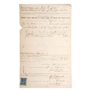 [CIVIL WAR]. Federal court document for reimbursement