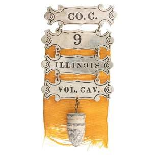 [CIVIL WAR]. 9th Illinois Cavalry ladder badge with