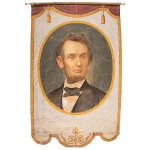 [LINCOLNIANA]. Abraham Lincoln banner possibly made for