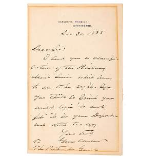 CLEVELAND, Grover (1837-1908). Autograph letter signed