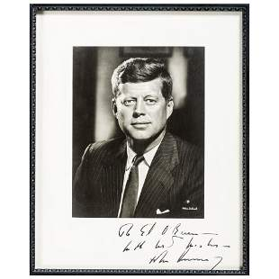 KENNEDY, John F. (1917-1963). Photograph signed and